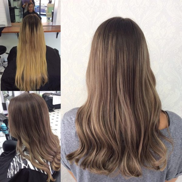 Brunette hair colour with highlights
