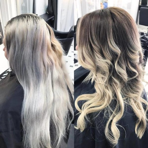 Platinum blonde hair balayage