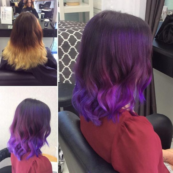 Hair colouring purple ombre