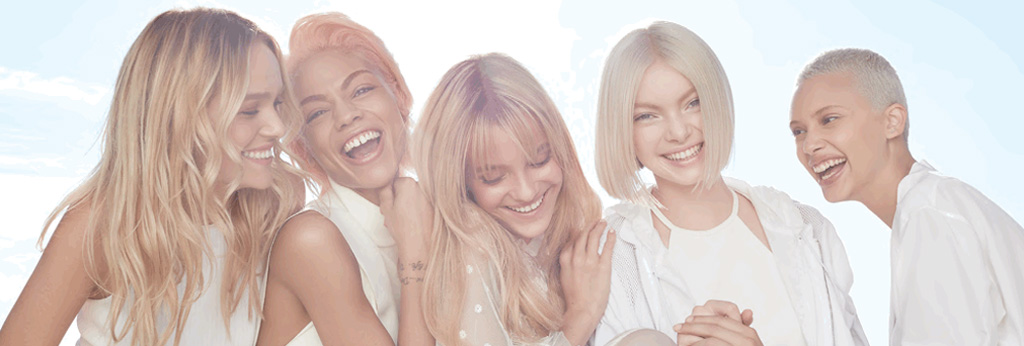 Blonde girls smiling with different hair styles